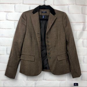 Chaps brown wool herringbone blazer